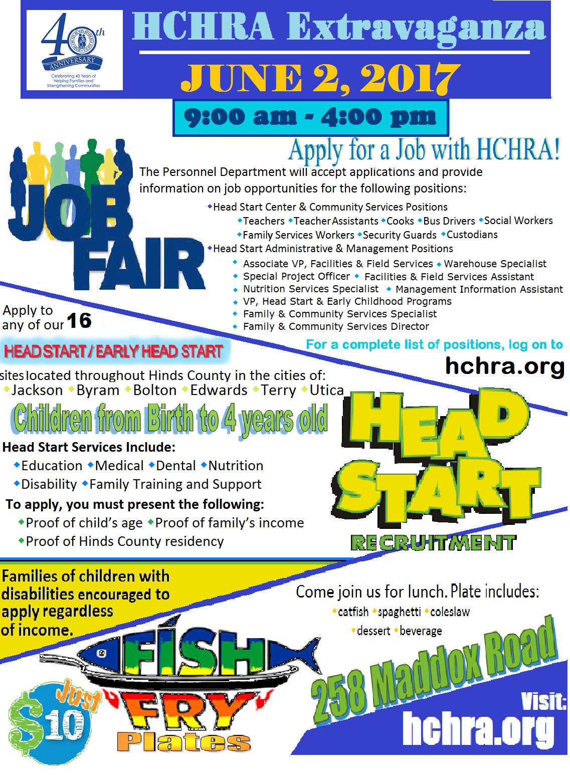 head start recruitment and job fair extravaganza on friday june 2